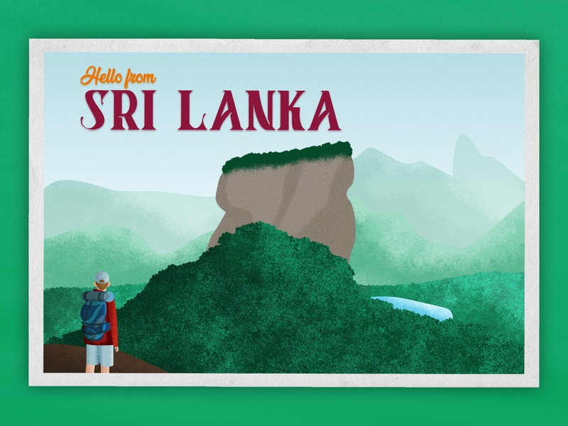 Hello from Sri Lanka // Weekly Warmup vintage forest tourism tourist postcard illustration view mountain bagpack wanderlust texture grain brush ravel asia sri lanka weekly challenge weekly warm-up weeklywarmup