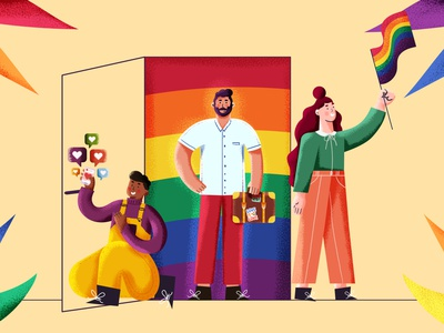 Coming out illustration series - #1 illustration art newspaper editorial illustration editorial grain drawing texture character design illustration newspaper illustration flag pride queer art queer lover proud lgbt lgbtqia lgbtq coming out