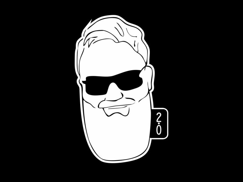 Ari Karnovski Portfolio Logo 071 personal designatelier 2.0 shades face beard atelier arikarnovski portfolio drawing icon black white branding flat vector graphics design sign logo
