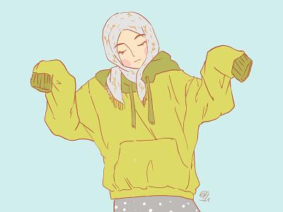 Unsure green sweater action beautiful muslim hobby hijab girl design sketch illustration