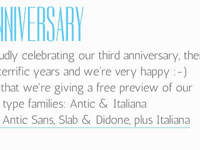 Typemade 3rd Anniversary typemade antic typography