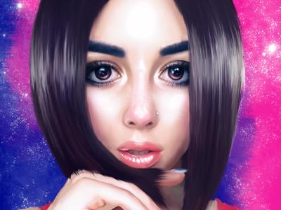 Drawing digital portrait for my friend
