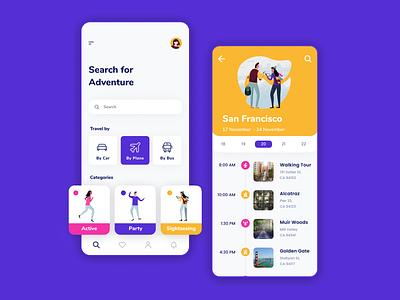 Travel App 🧳🗺 menu list tag cards tiles profile mobile ux ui timeline planning traveling app travel iphone illustration flat dashboard app