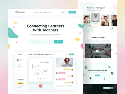 E-Learning Website    EduValley learning platform e-learning website course website education ui ux website colors visual design typography landing page hero page admin clean design clean ui e-learning edtech