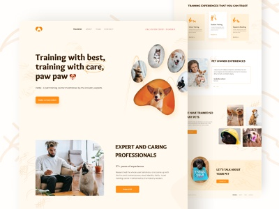 Petify Website - Pet Training Center design startup pets dog training dog ios colorful typography online training product page pet training vibrant fun illustration web homepage landing page clean design ui ux