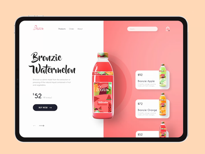 Bronzie Website   Product Page web animation motion graphics beverage drink typography uidesign minimalistic webui uiux product details product landing page website design product packaging product page design web homepage ui landing page ux