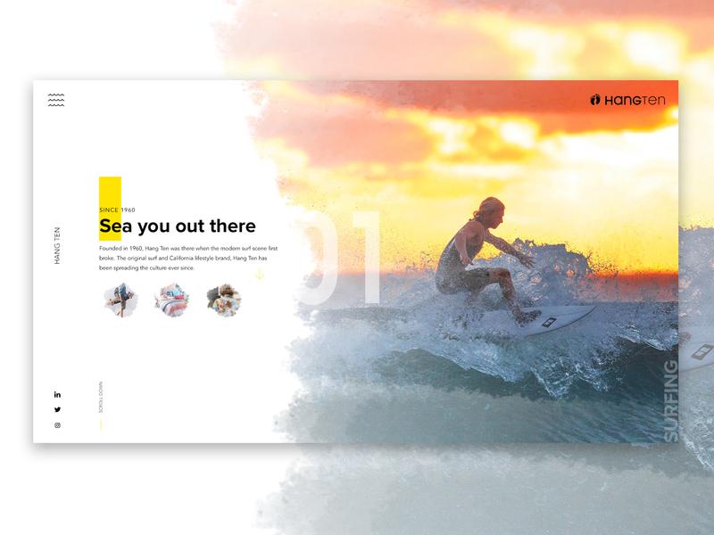 Hang Ten: Landing Page texture ux ui travel rebrand clean surf beach