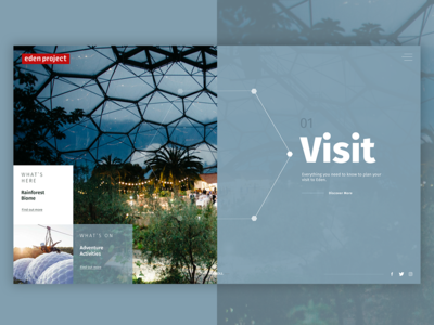 Eden Project Homepage Concept splitscreen colour graphicdesign concept redesign ux uid botanical plants edenproject
