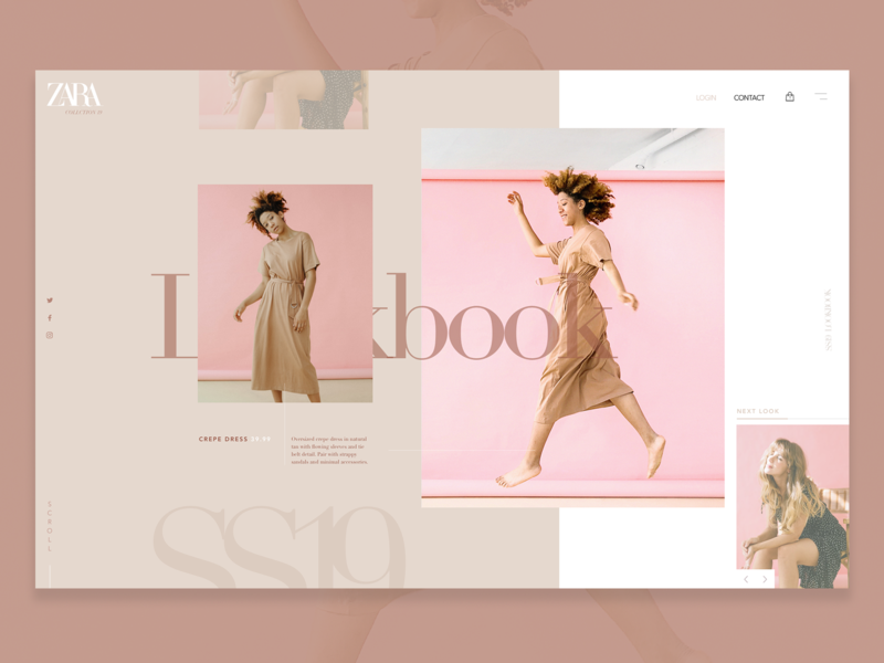Zara SS19 Lookbook rebrand graphicdesign colour clean minimal lookbook fashion zara