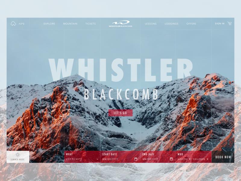 Whistler Blackcomb Landing Page ui design peaks grid landing page canada ski mountain