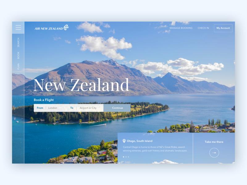 Air New Zealand Landing Page nature concept landing page adventure clean blue ux ui landscape travel new zealand