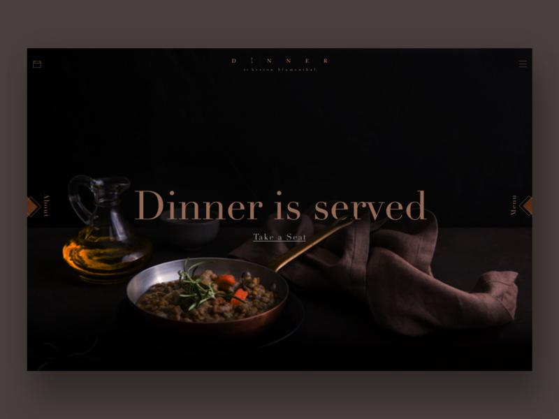 Dinner by Heston digital design concept web concept photography sketch landing page adobe ui ux copper colour restaurant food minimal sleek dark