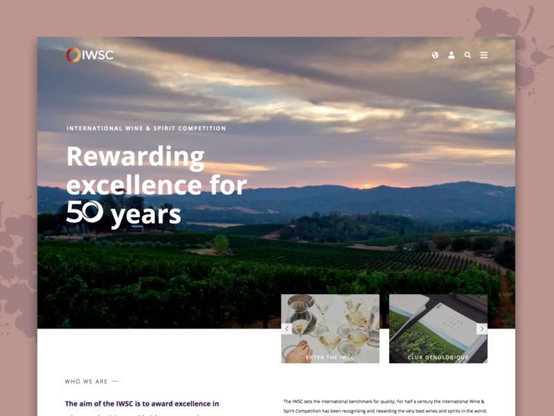 IWSC Redesign sketch header banner wine adobe purple minimal concept design landing page graphicdesign ui ux clean