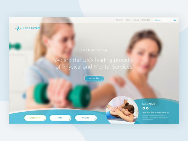 Ecce Health Landing Page blue bright fresh rebrand mental health physio physiotherapy sketch health care health ux ui design landing page minimal concept graphicdesign colour clean