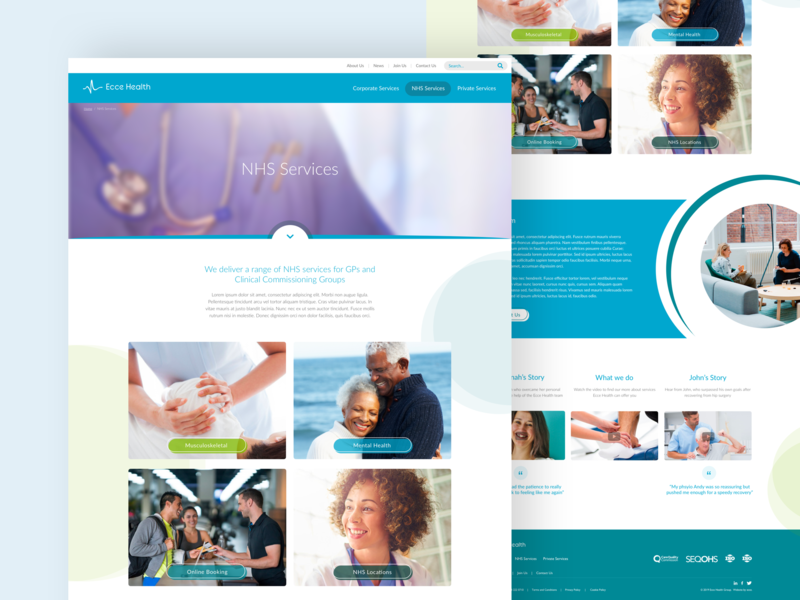 Ecce Health: Detail Pages nhs cms healthcare physio physiotherapy health graphicdesign bright blue design minimal sketch rebrand landing page concept colour ux ui clean