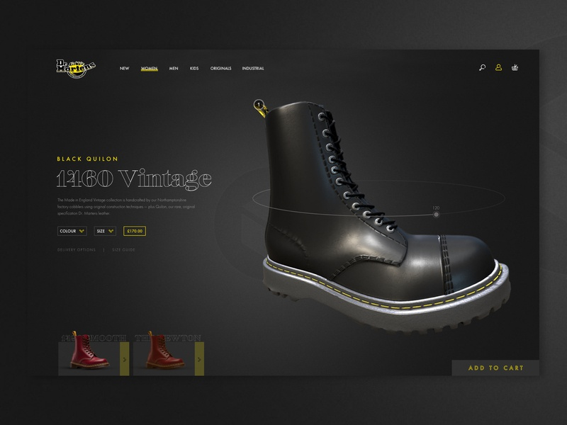 Dr Martens Product Page fashion boots sketch landing page 3d rotation gradient graphicdesign ui concept ux clean black and yellow ecommerce product card yellow dark black dr martens shoes