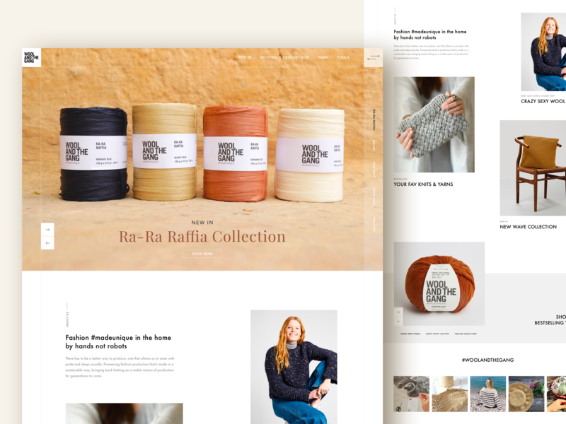 Wool and the Gang Full Page adobe white space ecommerce wool fashion minimal bright design sketch graphicdesign landing page concept ux ui clean
