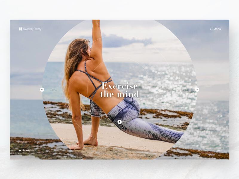 Sweaty Betty Landing Page Concept web concept travel beach adventure bright gym blue sea yoga fitness minimal fashion design colour graphicdesign landing page concept ux ui clean
