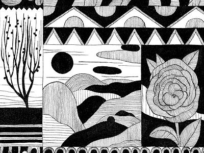 Black flowers black ink flower illustration artwork dessin drawing flower vegetal illustration