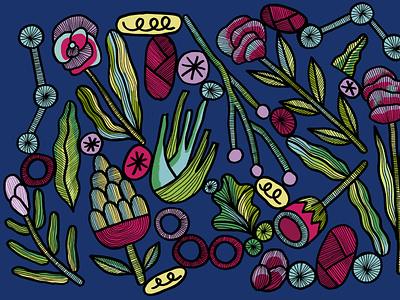 Pattern / Fowers artwork pattern design nature drawing flower illustration illustrator vegetal flowers pattern