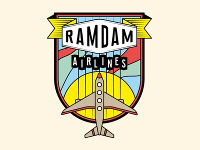 Ramdam Airlines sky identity blason vector illustration illustrator logo ramdam plane avion airlines logotype