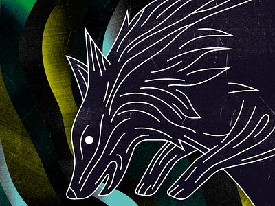 Tanière dark animal illustrator wolf