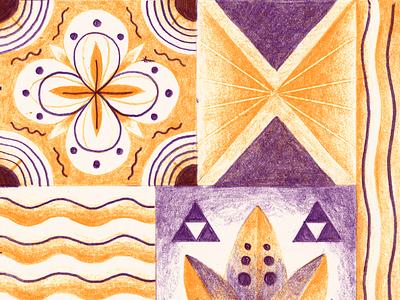 La Sauge organic flower purple orange colors drawing vegetal