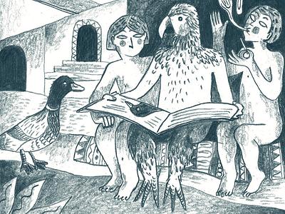Le Labyrinthe illustration art fairytale bird animals imagination illustration drawing