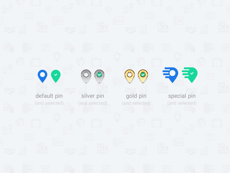 some pin icons for MIZ app illustration minimal persian design clean moghadam.pro miz idea green silver gold vector icon location icon custom pin app location