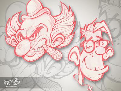 OLD FRIENDS sketch clown sketchstories sketch cartoon creative drawing illustration design chipdavid dogwings