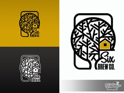 6BREW CO LOGO brew treehouse branding creative drawing illustration logo vector design chipdavid dogwings