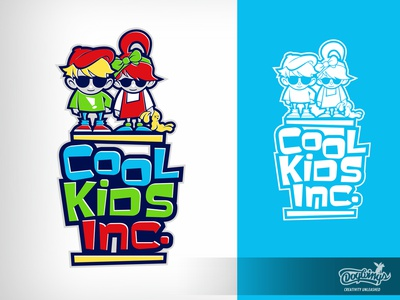 COOL KIDS - logo 1 creative sketch kids cartoon drawing illustration logo vector design chipdavid dogwings