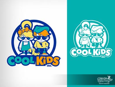 COOL KIDS 2 cartoon drawing illustration logo vector design chipdavid dogwings