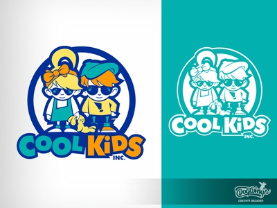 COOL KIDS 2 cartoon drawing illustration logo vector design chipdavid dogwings
