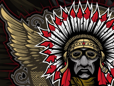 Sky Warrior warrior chief pilot feathers wings goggles scarf poster red indian dogwings chipdavid
