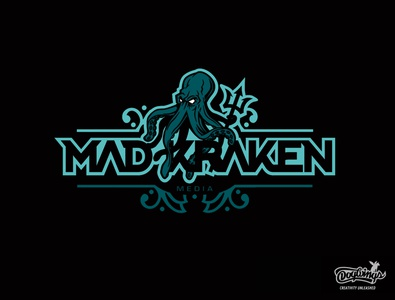 MAD KRAKEN logo concept trident kraken branding creative drawing illustration logo vector design chipdavid dogwings