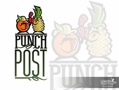 PUNCH POST logo concept cartoon fruit post production creative drawing illustration logo vector design chipdavid dogwings