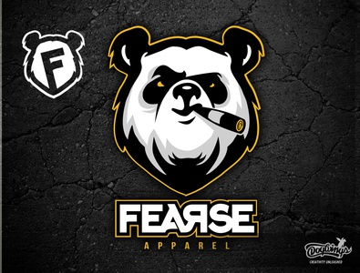 FEARSE LOGO attitude panda cartoon branding creative drawing logo illustration vector design chipdavid dogwings
