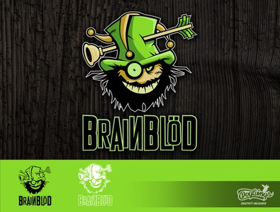 BRAINBLOD logo cartoon creative drawing illustration logo vector design chipdavid dogwings