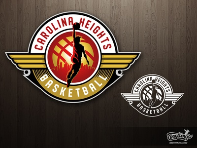 CAROLINA HEIGHTS BBALL logo basketball hoops sports graphic illustration logo vector design chipdavid dogwings