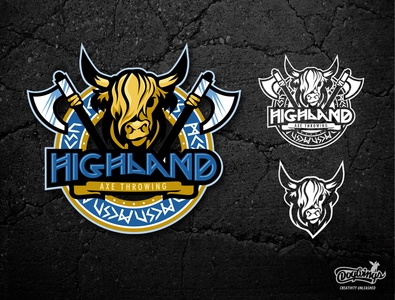 HIGHLAND AXE THROWING icon highland cow axe sports graphic drawing illustration logo vector design chipdavid dogwings