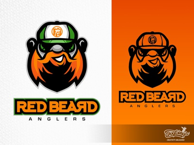 RED BEARD ANGLERS 1 design drawing sports graphic branding cartoon vector logo illustration chipdavid dogwings