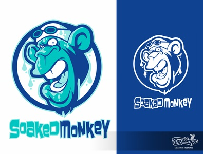 SOAKED MONKEY 1 swimming monkey sports graphic cartoon creative drawing illustration logo design vector chipdavid dogwings