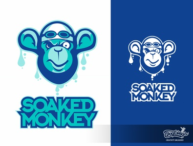 SOAKED MONKEY 2 branding creative sports graphic cartoon logo design illustration vector chipdavid dogwings