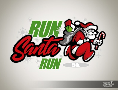 RUN SANTA RUN 5k santa cartoon sports graphic logo vector illustration chipdavid dogwings