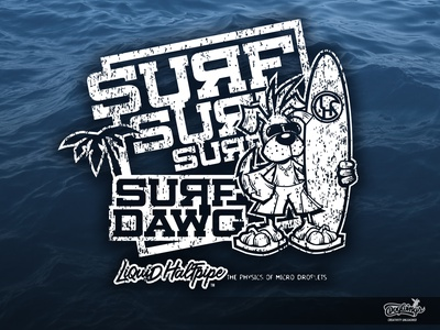 SURF DAWG dog surf creative sports graphic cartoon vector drawing illustration chipdavid dogwings