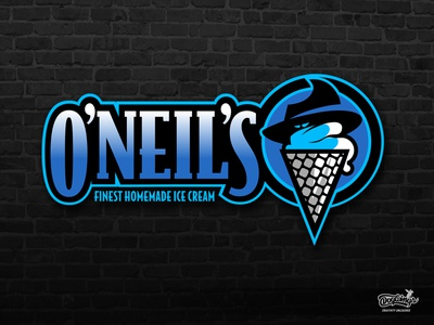 ONEIL S ICE CREAM LOGO mafia icecream cartoon branding drawing illustration vector chipdavid dogwings