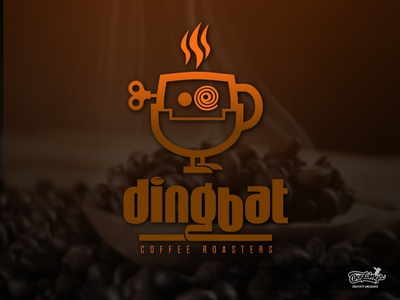 DINGBAT ROASTERS LOGO 2 dingbat coffe roaster windup toy creative branding drawing design illustration vector chipdavid dogwings