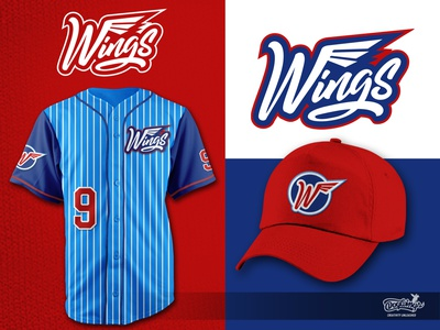 WINGS UNIFORM softball wings sports graphic branding logo illustration vector design chipdavid dogwings
