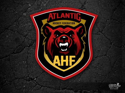 AHF LOGO - 1 creative shield hockey bear logo sports graphic design drawing logo illustration vector chipdavid dogwings